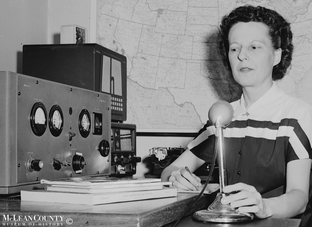 In May 1954, The Pantagraph profiled Bloomington resident Helen M. Zalucha, one of only three women active in the Illinois Emergency Network, a statewide group of some 200 amateur (ham) radio operators.