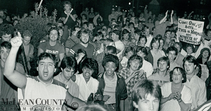 On October 3, 1984, Illinois State University students protested new Town of Normal liquor ordinances designed to control large off-campus keg parties. Students called the measures draconian, and some took out their frustrations on public and private property in Uptown Normal. Rioters, according to an AP report,