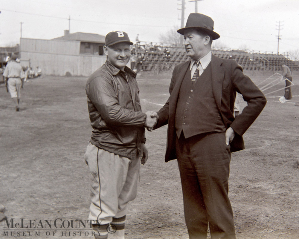 Bob O'Farrell and Grover Cleveland Alexander Fans Field, Bloomington, 1938