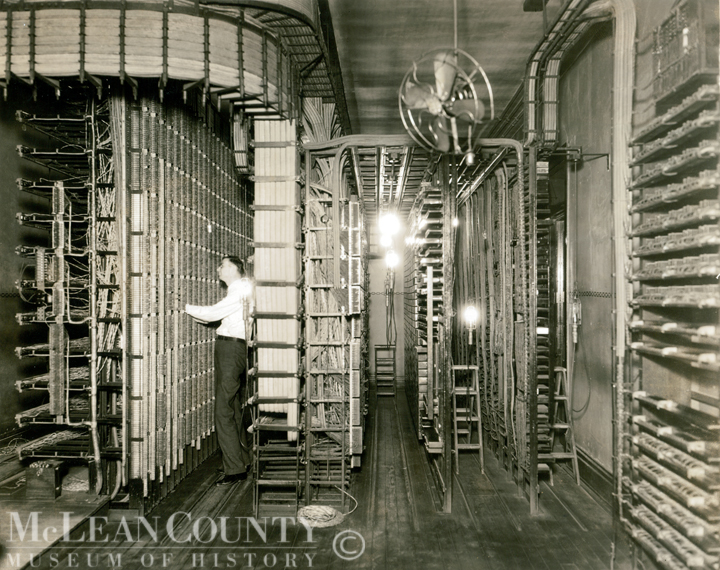 Seen here is the terminal room of the Wabash Telephone Company in downtown Bloomington. Outside lines terminated here and connections were made with the local switchboard.