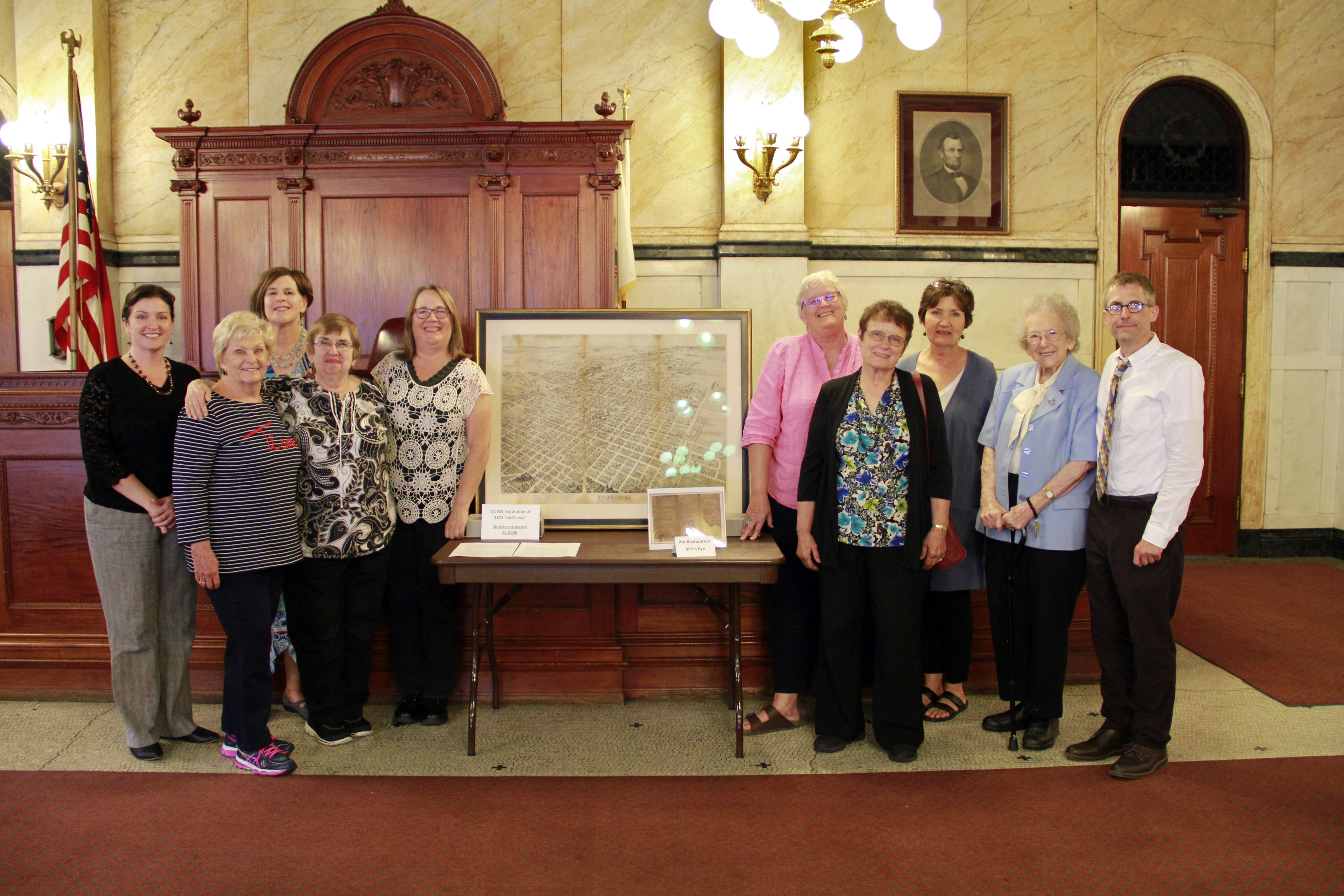 "Museum staff recognized the local Jesse Fell chapter of Questers International. This group, dedicated to the study and preservation of historical objects, oversaw a $1,500 donation to pay for a professional restoration of the Museum's rare 1873 ""bird's eye"" view of Bloomington."