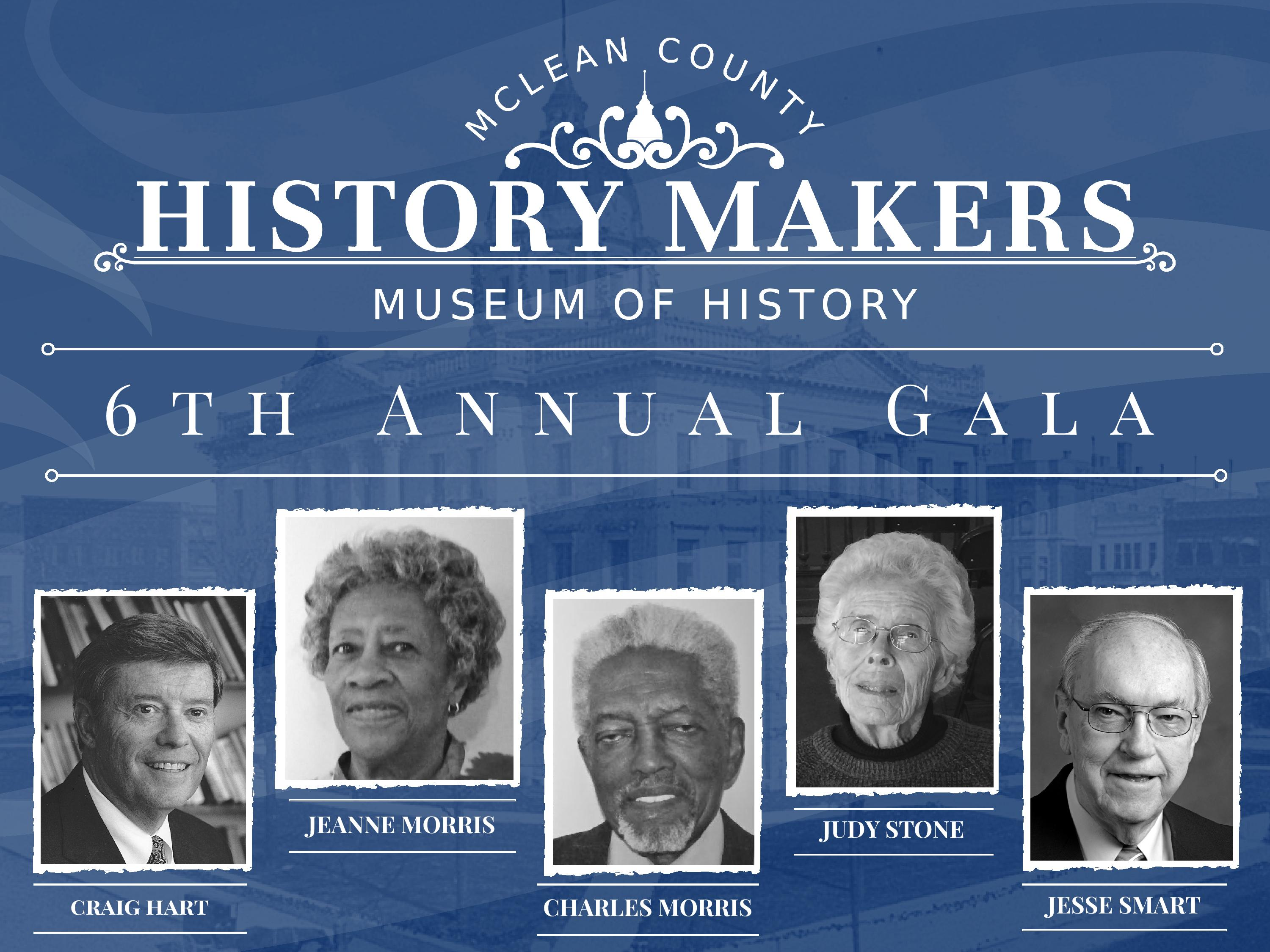 Graphic showing the 2017 honorees: Craig Hart, Jeanne Morris, Charles Morris, Judy Stone and Jesse Smart