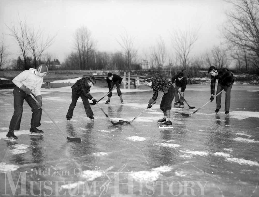 Angler's Club playing hockey on Angler's Lake on January 31, 1938