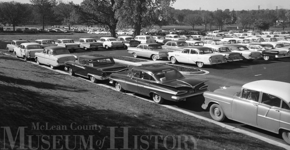 Bloomington High School parking lot, 1969.