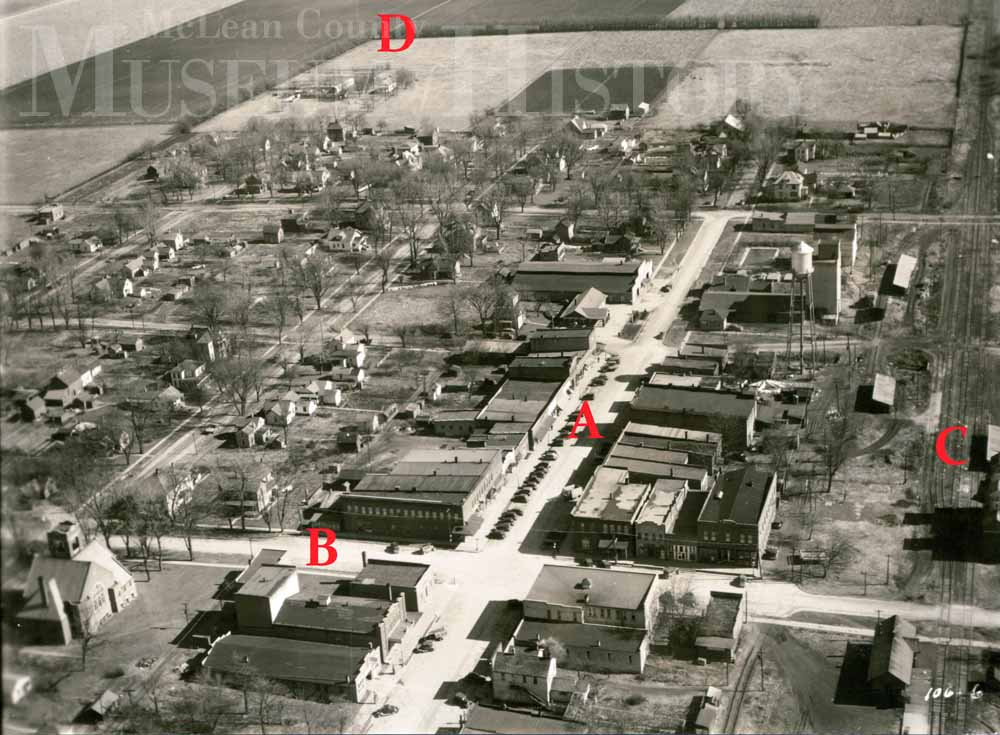 Aerial view of Colfax, 1938.