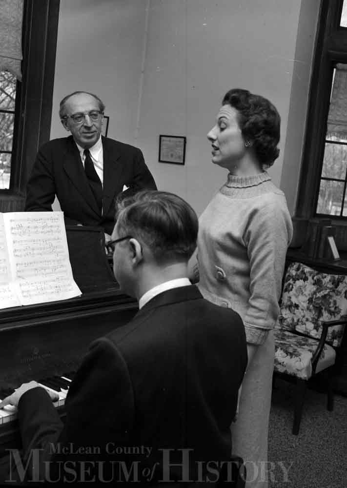 Aaron Copland appearing at IWU, 1958.