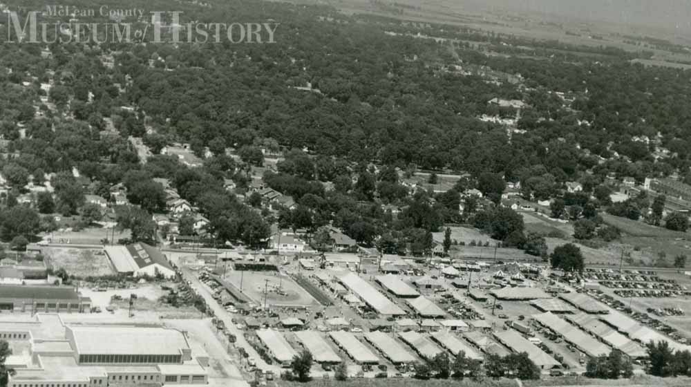 Aerial view of the McLean County fair, 1951.