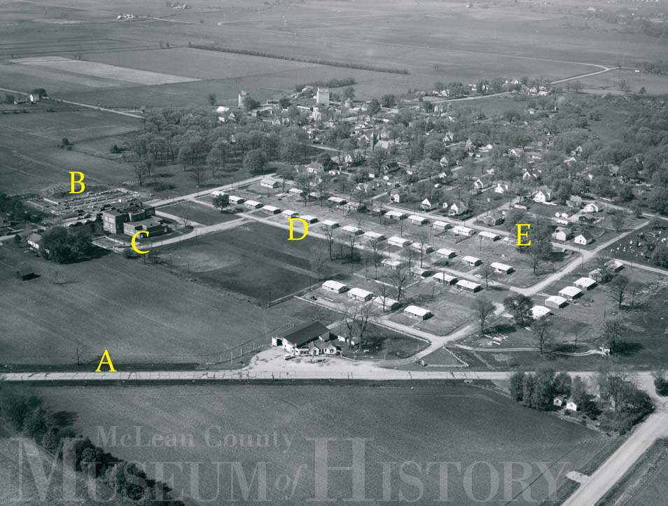Aerial view of the village of Downs, 1953.