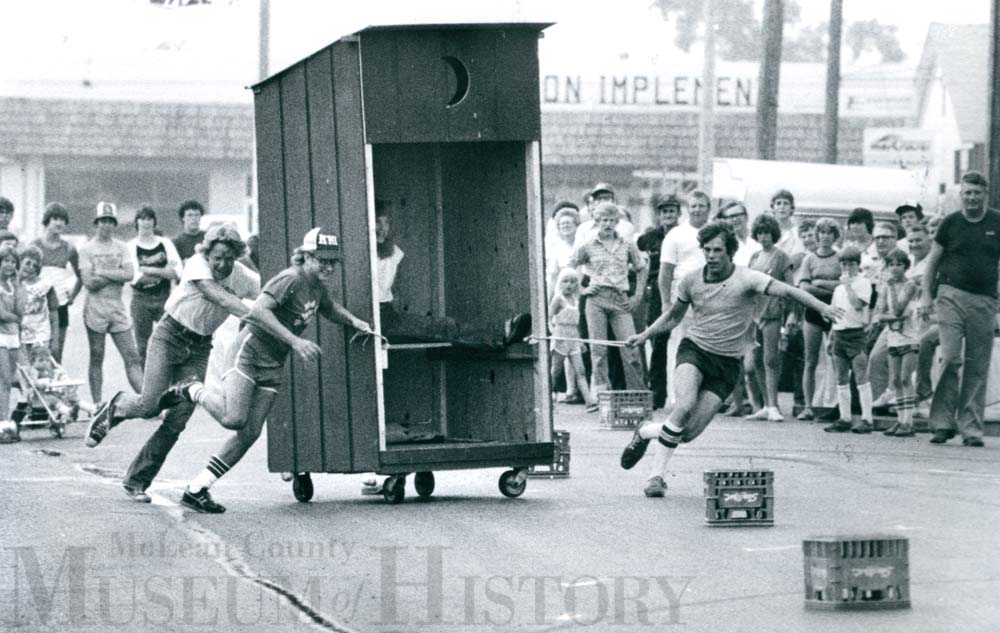 Fraternity outhouse race, 1980.