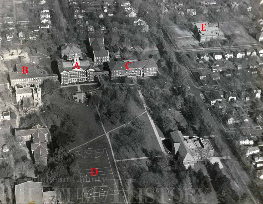 Aerial view of Illinois State Normal University, 1941.