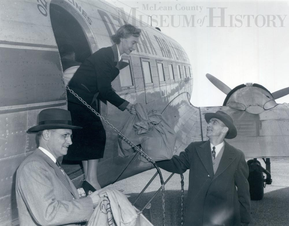 Municipal Airport celebrates the start of scheduled commercial air service to Bloomington, 1950.