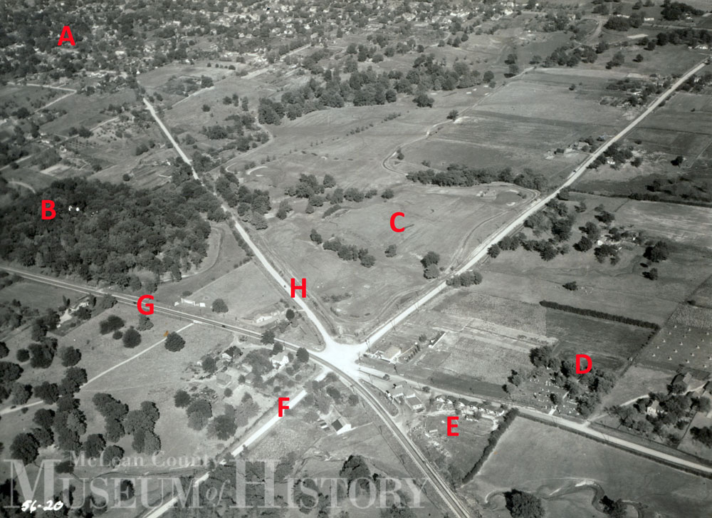 Aerial view of Bloomington, 1933.