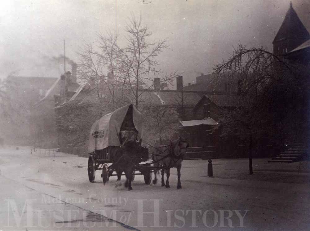 Horse drawn carriage in the snow, undated.