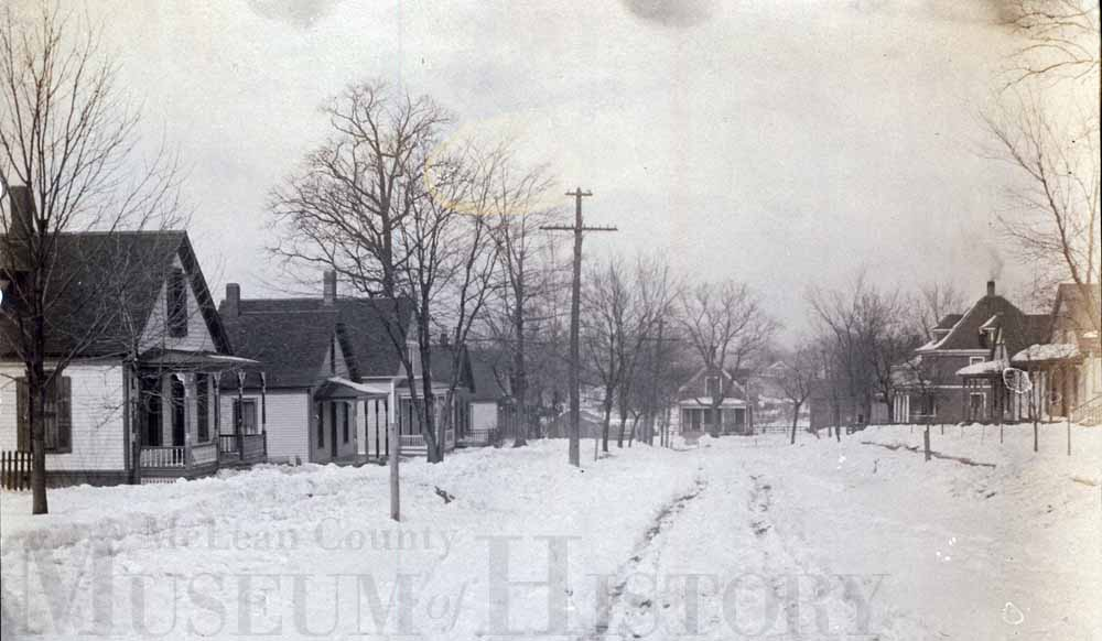 Scene of a snowy street, undated.
