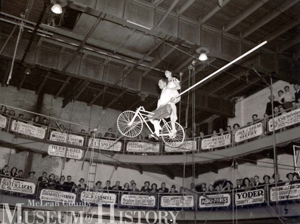 YMCA Circus high-wire, 1938.
