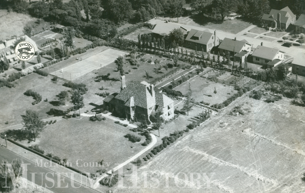 Aerial view of an Bloomington County Club, undated.