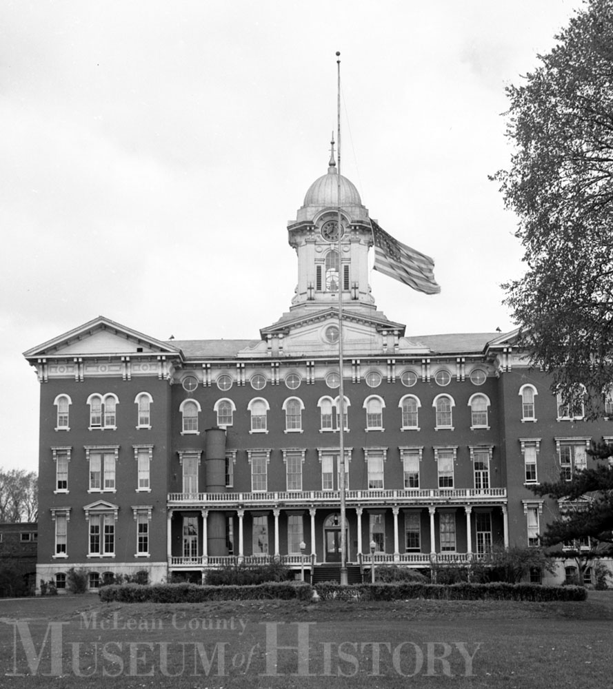 Flag at half staff, 1945.