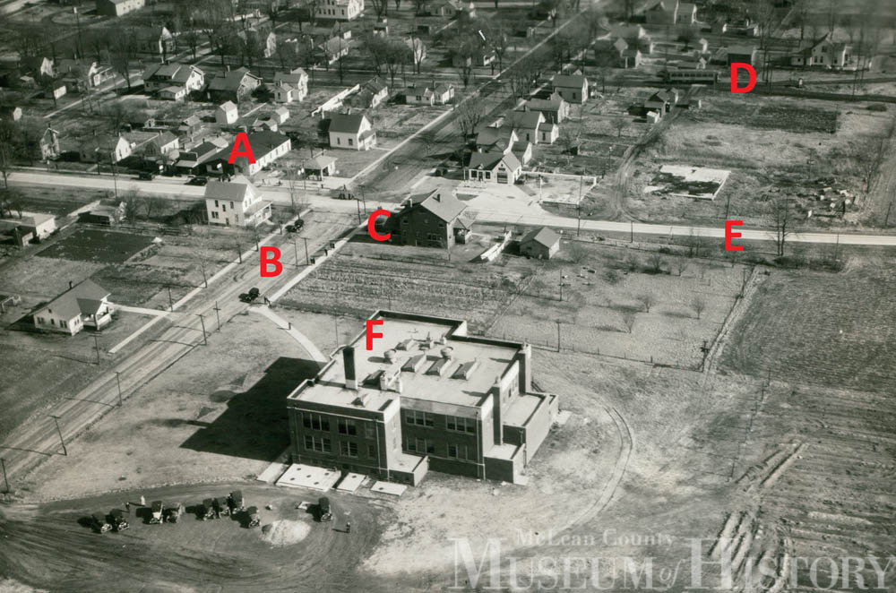 Aerial photo of Heyworth High School, 1933.