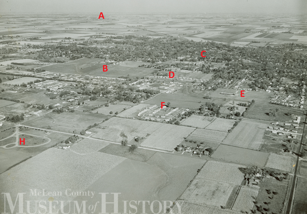 Aerial view of Normal, 1954.