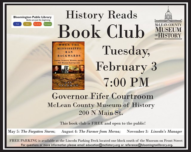 History Reads Book Club - When the Mississippi Ran Backward: Empire, Intrigue, Murder and New Madrid Earthquakes by Jay Feldman
