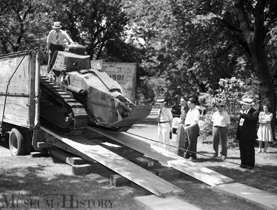Several pieces of military hardware can be found at Bloomington's Miller Park, including this World War I-era tank, seen here being offloaded on May 24. 1939.